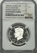 2012 S Proof Silver Kennedy Limited Edition Set Ngc Pf69 Ultra Cameo