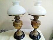 Pair Antique Vintage Brass And Ceramic Base Oil Lamps And White Glass Shade Chimney