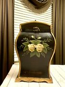 Beautiful Vtg 2 Bottle Toleware Hand Painted Wooden Armoire Wine Storage Decor