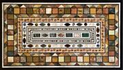 54 X 32 Marble Table Top Pietra Dura Handcrafted Inlay Home Decor