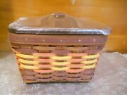 New Longaberger 2009 Autumn Leaves Large Berry Basket + Protector + Wooden Lid
