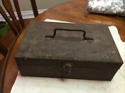 """Antique Early 1900's Falls City Fishing Tackle Box -12-1/2"""" X 8"""" 3 Trays,"""