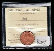 1943 Canada - One Cent - Iccs Graded Ms-65 Red - Cb04