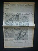 Rare Dolphins Beat Vikings Nfl Superbowl 1974 Vintage Newspaper Sports Section