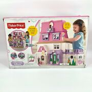 Nib Fisher Price Loving Family Dollhouse 2 Ft.+ W/ Mom Dad Baby Pink Doorbell