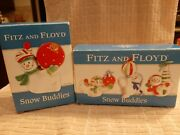 Fitz And Floyd - Snow Buddies - Set Of 3 Snowman Tumblers, Salt And Pepper In Box