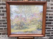 American Impressionist Spring Park Painting Large Painting Oil On Board Signed