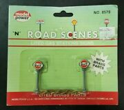 Model Power N Scale 8578 Road Scenes Brass Gulf Lighted Gas Station Signs 2
