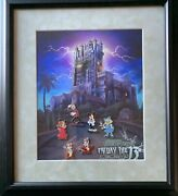 Disney Friday The 13th Tower Of Terror Mickey Chip Dale Framed Le 100 Pin Set