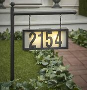 Solar Address Stake With Backlit House Numbers - Hanging Home Address Plaque