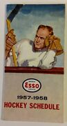 1957/58 Esso Nhl National Hockey League Schedule Sked Vg/ex+