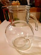 Clear Glass 2 Qt Round Water Pitcher Made In Italy