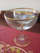 Antique Victorian Crystal Gold-rimmed Shrimp Cocktail Goblets And Ice Liners