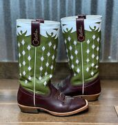 Olathe Cowboy Collection Square Toe Cowboy Boots Size 5 Green And White Top