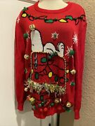 Peanuts Snoopy Pullover Lightup And Jingle Sweater Ugly Christmas Sz Xl