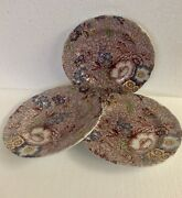 Spode Florence Chintz Floral Bread And Butter Plates Set Of 3 Made In England