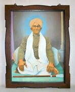 Old Antique Indian Old Man Seat Artist Hand Fine Portraits Oil Painting Framed