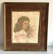 Antique Fine Portraits Girl With Flower Beautiful Oil Canvas Painting Framed