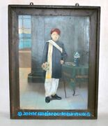 Old Antique Indian Gujrati Man Artist Hand Fine Portraits Oil Painting Framed