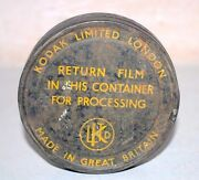 Antique Old Rare Kodak Limited London Film Reel And Tin Canister Great Britain
