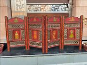 Antique Wooden Hand Craved Jali Cut Mughal King Queen Painted Screen Partition