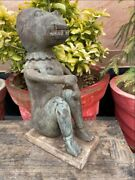 17th Antique Wooden Carved Sitting Early Human Monkey Rare Sculpture Figurine