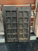 17th C Ancient Wooden Hand Crafted Iron Work House Castle 44 X 31'' Window Door
