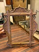 Ancient Wood Hand Floral Carving Gold Painted Royal Victorian Rare Photo Frame