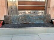 Ancient Wood Fine Hand Carved Floral Blue Painted 58 X 11 Mughal Door Rare Panel