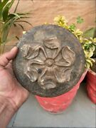 17th C Ancient Stone Carved Floral Primitive Cookies Mold Bread Rolling Plate