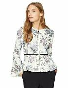 Bagatelle Floral Perforated Peplum Faux Leather Jacket Size Xlarge New 169