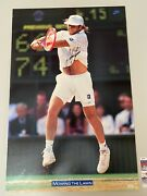 Vintage Nike Tennis Poster Mowing The Lawn Andre Agassi Jsa Coa Signed Free Ship
