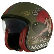 Premier Vintage Pin Up Military Tri Composite Scooter Cruiser Motorcycle Helmet