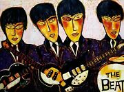 Original Beatles Painting By Justin Love Văn Gogh Style Large Oil On Canvas