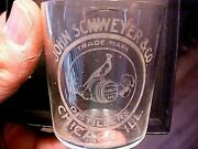 C1900 Schweyer Whiskey Distillers Pre Pro Etched Shot Glass Chicago W/peacock