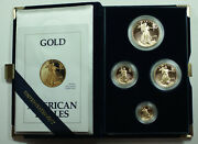 1992 American Eagle Gold Proof 4 Coin Set Age In Box W/ Coa