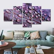5 Panel Framed Purple Water Plant Leaf Decor Canvas Picture Wall Art Hd Print