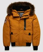 Superdry Menand039s Everest Bomber Jacket Flaxen Size L 40 102cm Rrp Andpound119.99