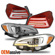 For 15-20 Wrx Chrome Led Drl Sequential Projector Headlight+full Led Tail Light