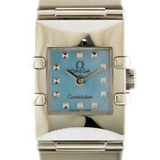 Omega Watches Silver Light Blue Stainless Steel Blue Shell Constellation Ca...