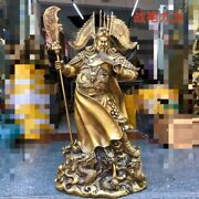 30and039and039 Brass Copper Carved Treasure Nine Dragon Folk Wealth God Guan Gong Statue