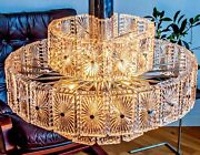 X Large Cascading Ballroom Chandelier With 50 Square Sparkling Glass Shells 1960