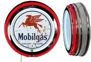 Mobil Gas Socony Vacuum Distressed Rusty Look Sign Neon Sign Red Neon No Clock