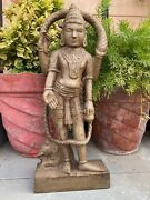 17th Ancient Marble Stone Hand Carved Hindu Goddess Blessing Elephant Figure