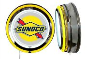 Sunoco Gas N Oil Sign Neon Sign Yellow Outside Neon Chrome Shell No Clock