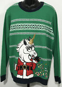 Jolly Sweaters Unicorn Santa Ugly Christmas Sweater Menand039s Xxl Embroider Sequins