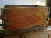 Vintage 1940and039s Pepsi Cola Double Dot Wood Bottle Crate Soda Pop Box