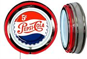 Pepsi Cola 5 Cent Sign Neon Sign Red Neon Chrome Shell No Clock Soda Pop