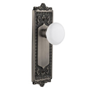 Egg And Dart Plate 2-3/8 In. Backset Antique Pewter Privacy Bed/bath White Porce