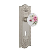Meadows Plate With Keyhole 2-3/4 In. Backset Satin Nickel Privacy Bed/bath White